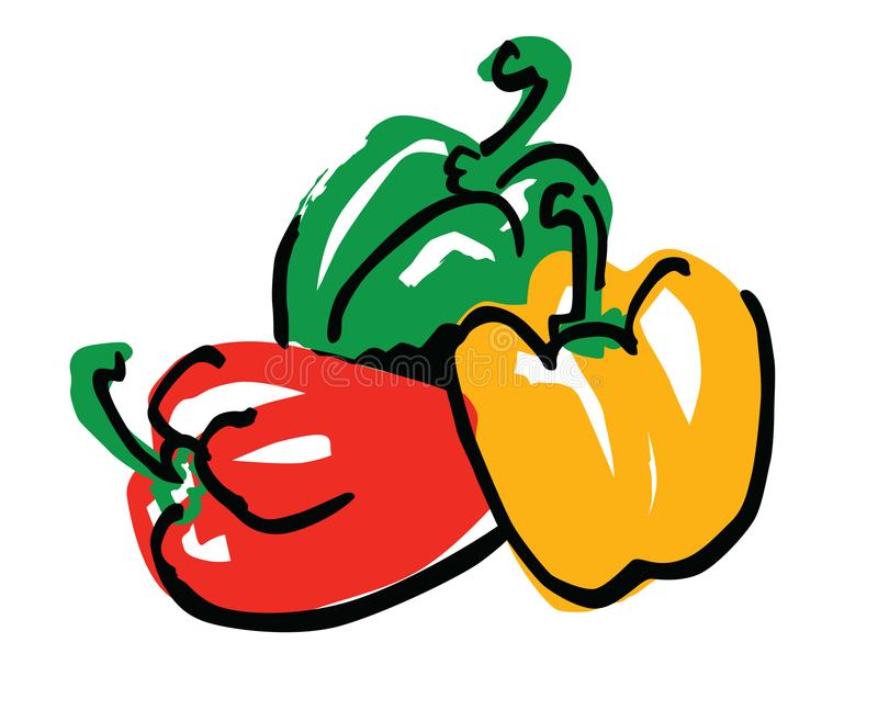 Three peppers vector illustration. Three colors peppers simple vector illustration vector illustration