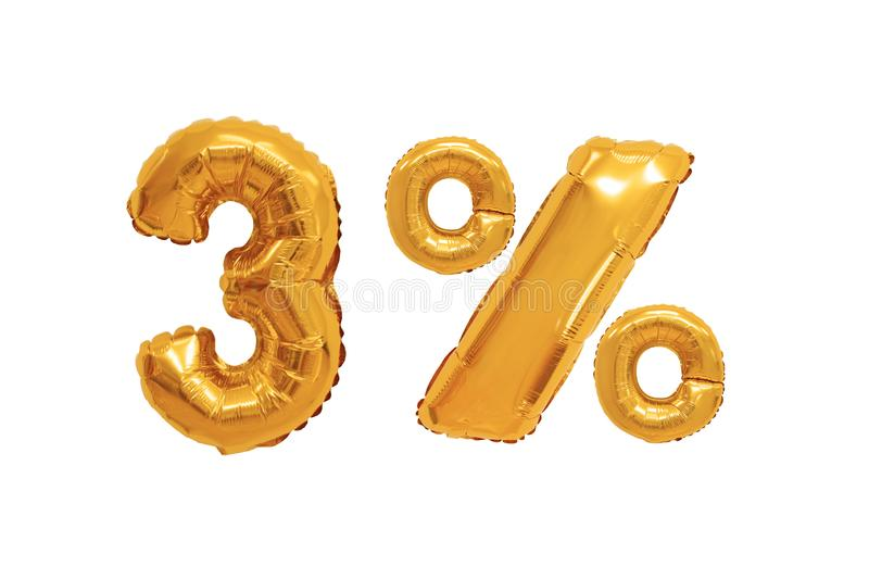 Three percent from balloons orange color stock photography