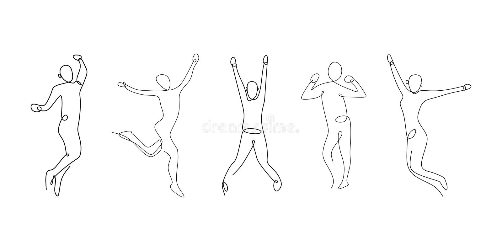 Three person looks happy and attractive with continuous single line drawing vector illustration. Sketch people linear isolated success contour doodle hand drawn royalty free illustration