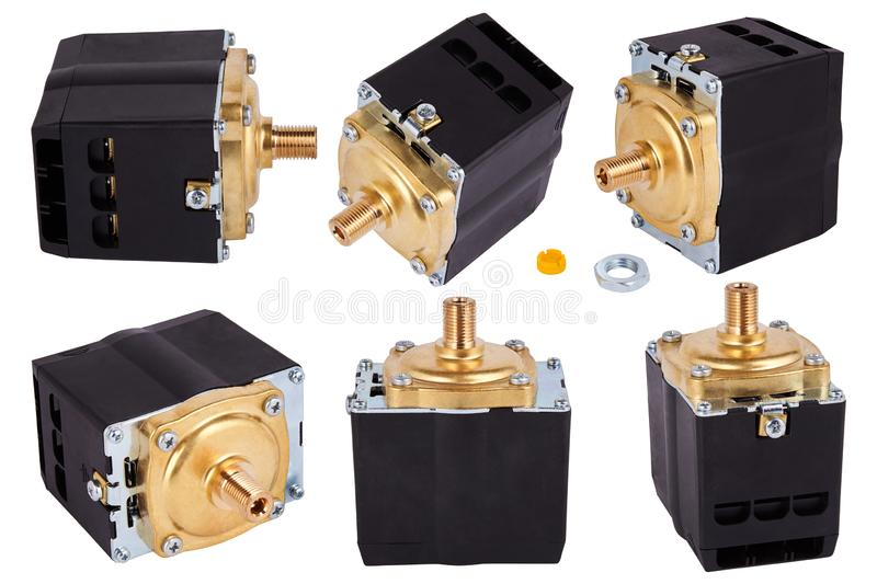 Three phase compressors. Pressure switch Control. Pressure switch for compressor. Spare parts for professional coffeee machines. Isolated. Barista equipment royalty free stock photo