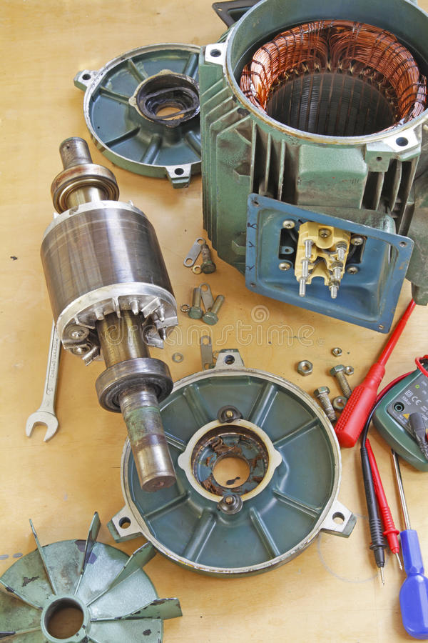 Three Phase Induction Motor Shaft Bearing Repair Stock Image