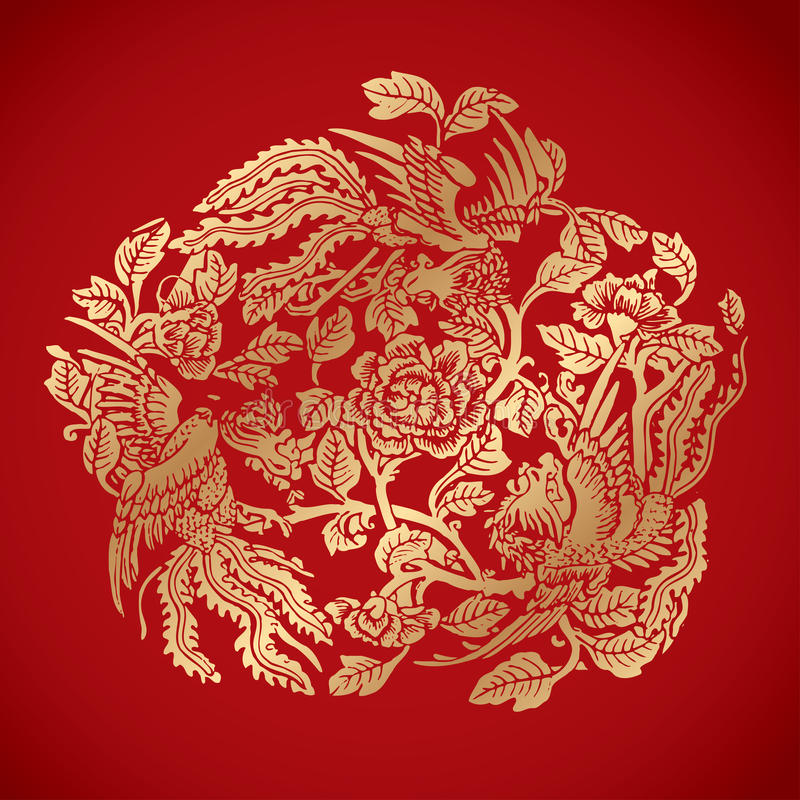 Free Three Phoenixes Around Chinese Flower Elements On Classic Red Ba Stock Photos - 49574353