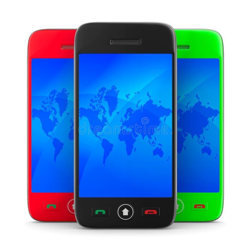 Download Three Phone On White Background Stock Illustration - Image: 21869044