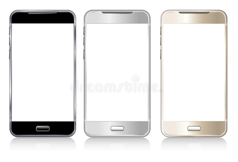 Three Phones Cellphone, Cell, Smart, Mobile phone. Phone Cell phone, Cellphone, Smart phone, Mobile phone, black, silver and gold with reflections stock illustration