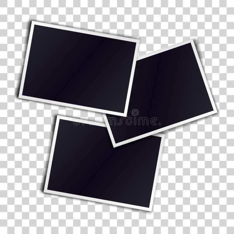 Three photorealistic blank retro photo frames over transparent vector illustration