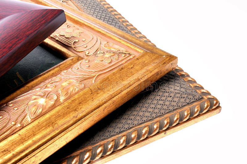 Three picture frames stock photos