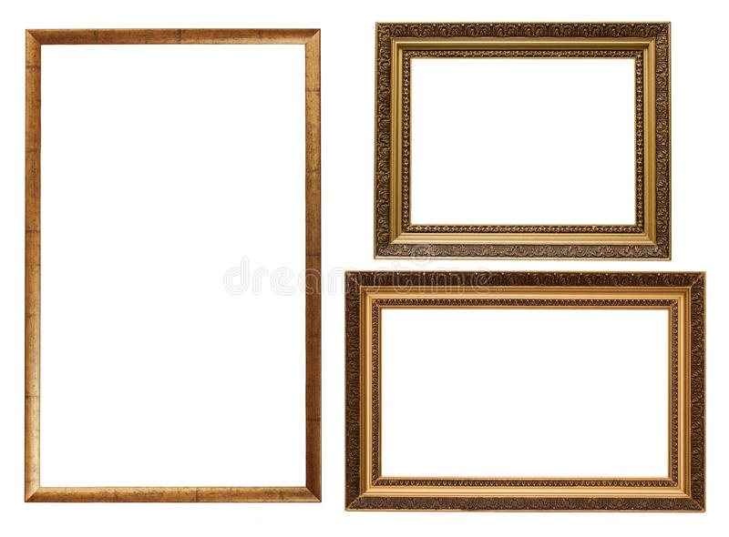 Three picture frames isolated stock photo