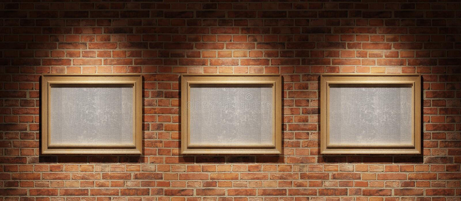 Download Three Pictures On A Brick Wall Stock Illustration - Illustration: 11912352