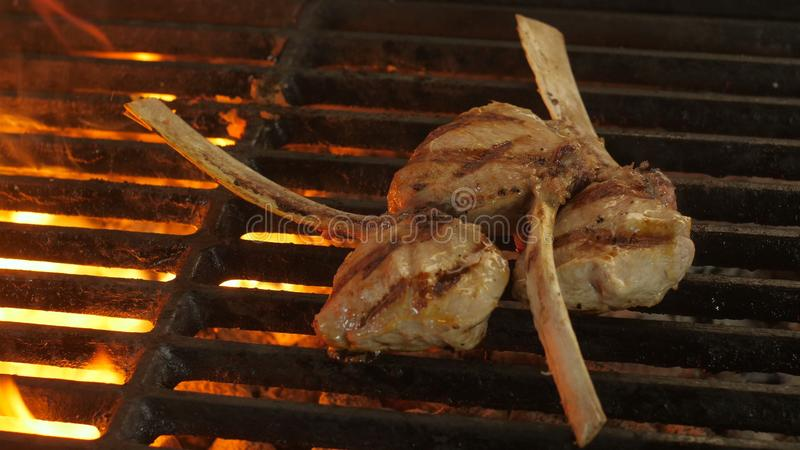 Three pieces of meat on bones, veal on a bone or lamb brought to the ready on the grill in the kitchen of the restaurant royalty free stock image