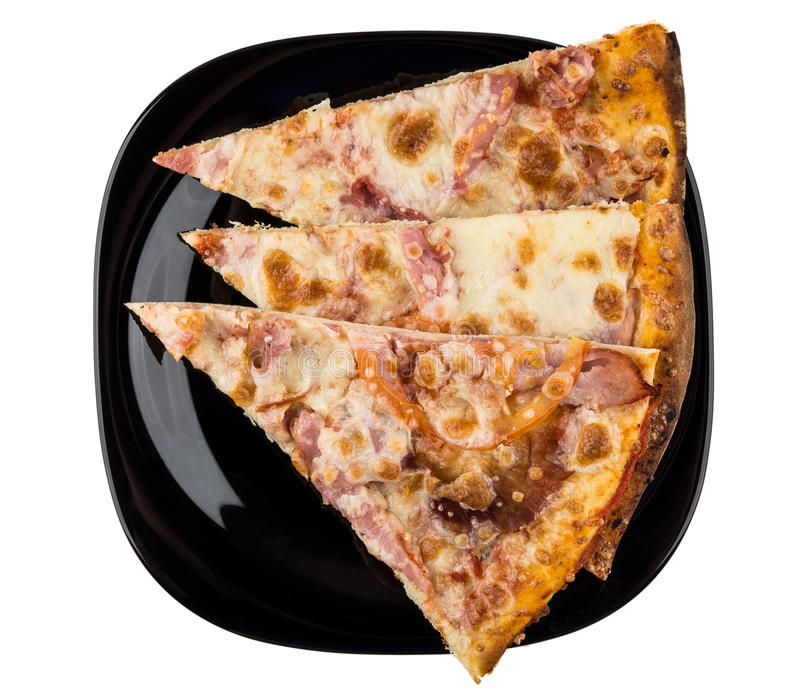 Three pieces of pizza in black plate isolated on white. Background. Top view royalty free stock photography