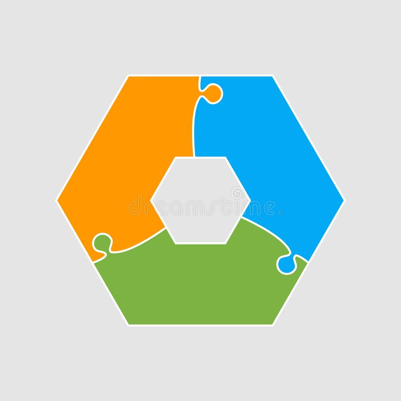 Three pieces puzzle hexagonal diagram info graphic. Three pieces puzzle hexagonal diagram. Hexagon business presentation infographic. 3 steps, parts, pieces of vector illustration