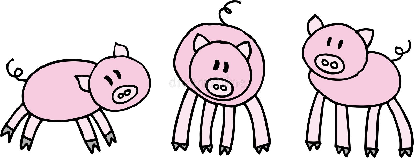 Three pigs stock illustration