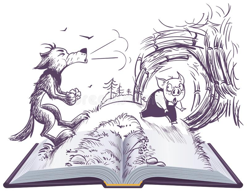Three pigs fairy tale open book illustration. Wolf blowing broke house vector illustration