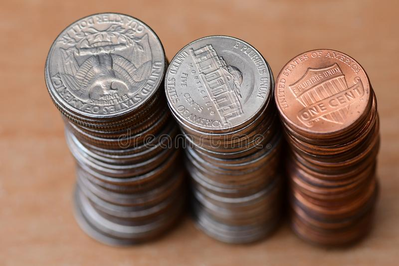 Download Three piles of coins stock photo. Image of three, equal - 110025314