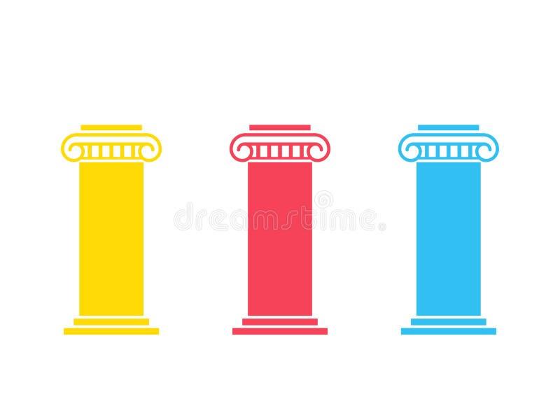 Three pillar diagram royalty free illustration
