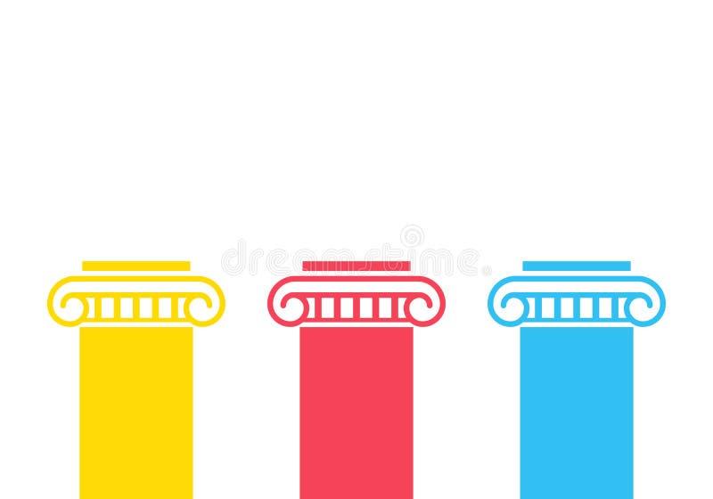 Three pillar diagram vector illustration