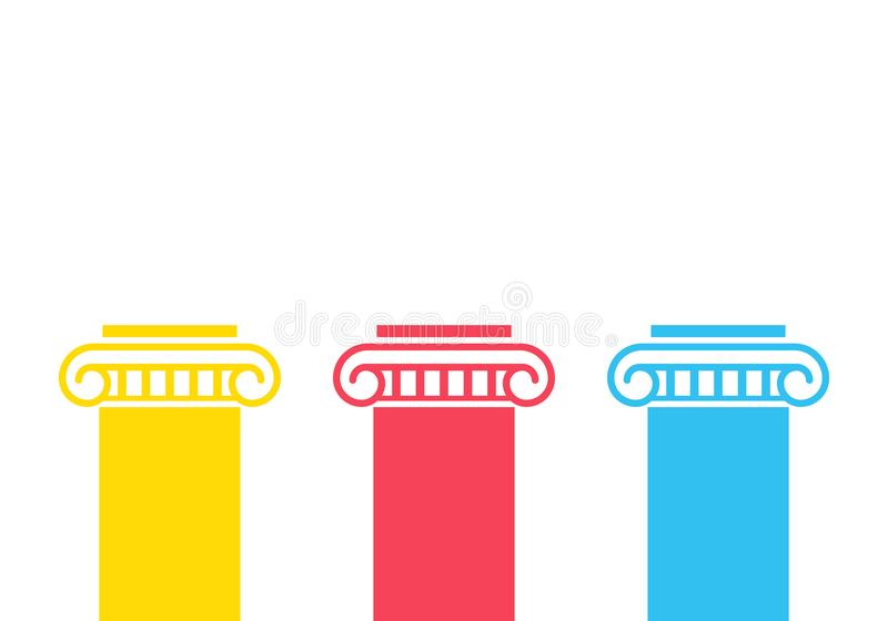 Three pillar diagram. Vector image isolated on white background vector illustration