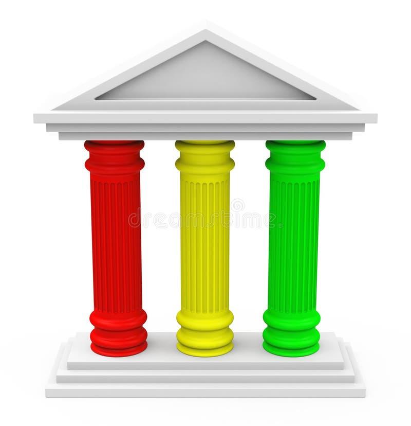 The three-pillar strategy stock illustration