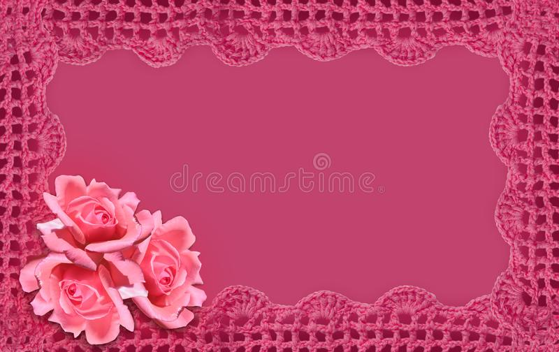 Three pink roses on a pink background. royalty free stock images