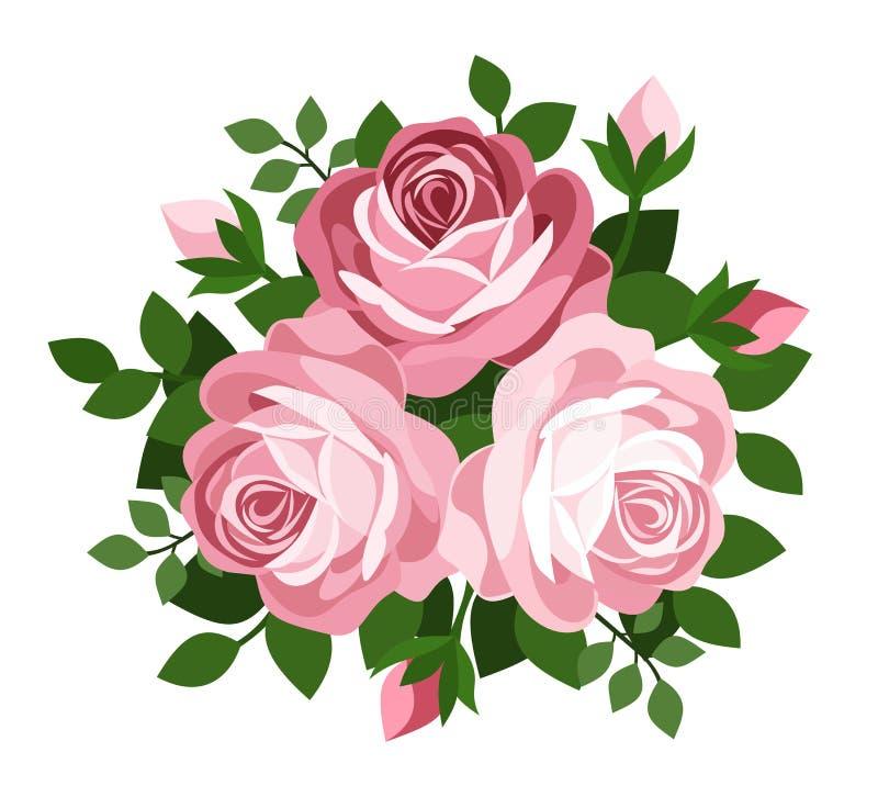 Three pink roses. Vector illustration. royalty free illustration