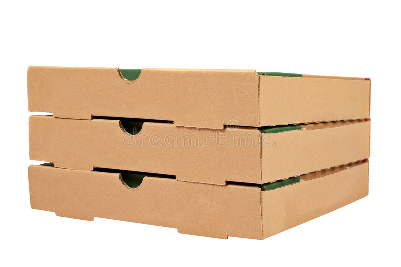 Three pizzas boxes. Three pizzas cardboard boxes isolated on white background royalty free stock photography