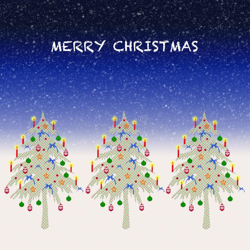 Three Plaid Christmas Trees stock illustration