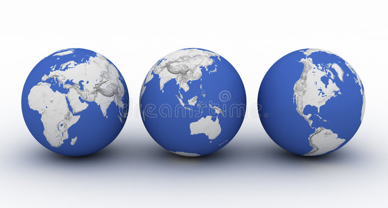 Download Three Planet Earth On White Royalty Free Stock Image - Image: 2123776