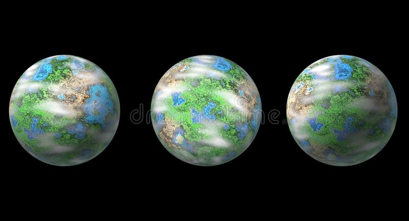 Three planets isolated on black royalty free illustration