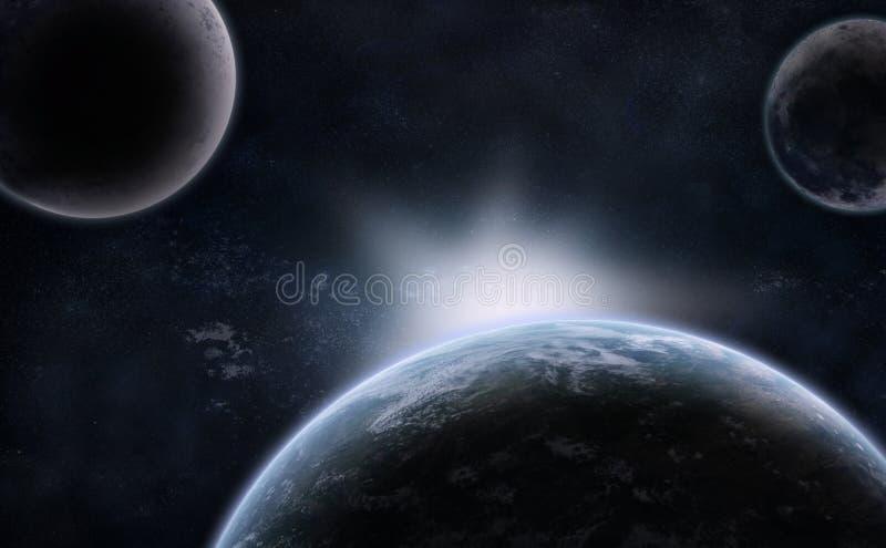 Three Planets over the Nebula stock illustration