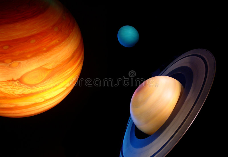 Three planets in space stock photos