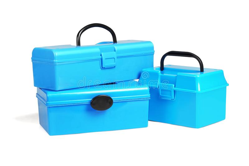 Three Plastic Tool Boxes. On White Background stock photos