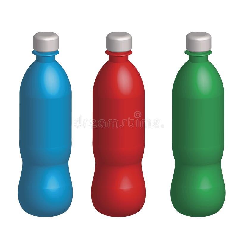 Download Three Plastic Varicoloured Bottles Royalty Free Stock Image - Image: 19323336