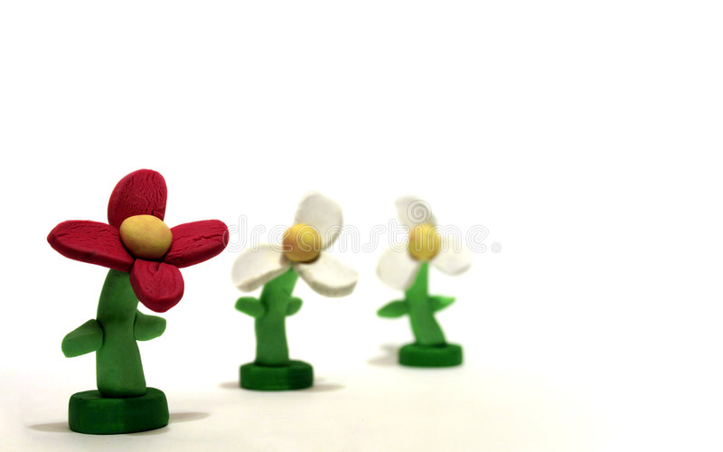 Download Three Plasticine Flowers stock photo. Image of isolated - 2026030