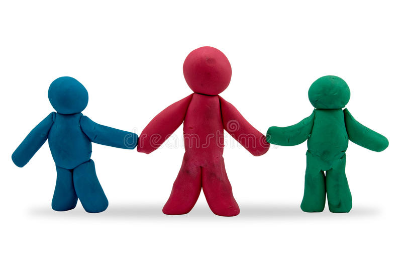 Three plasticine persons stock image
