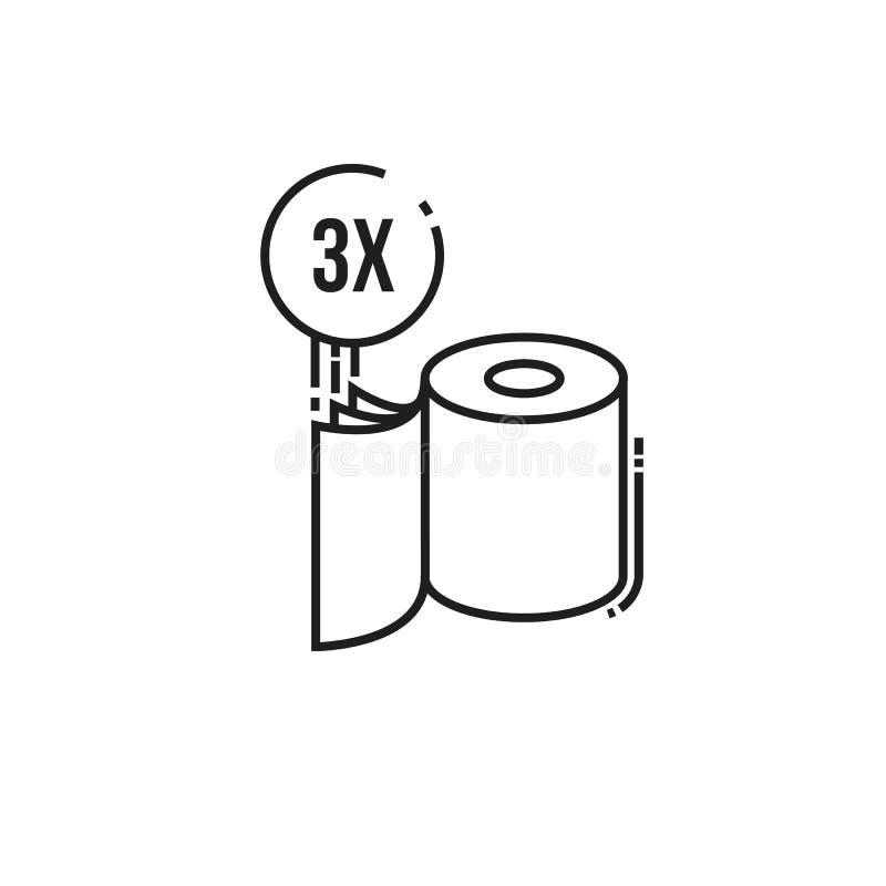 Three-ply εικονίδιο χαρτιού τουαλέτας απεικόνιση αποθεμάτων