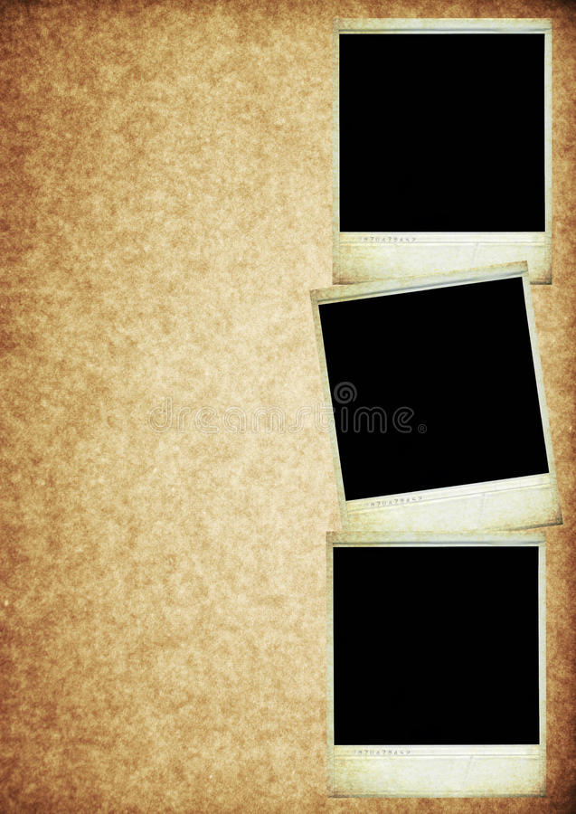 Download Three Polaroid Photos On Vintage Old Paper Texture Stock Photography - Image: 9634862
