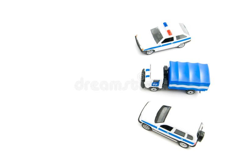 Three police cars. Three different police cars on white background royalty free stock images