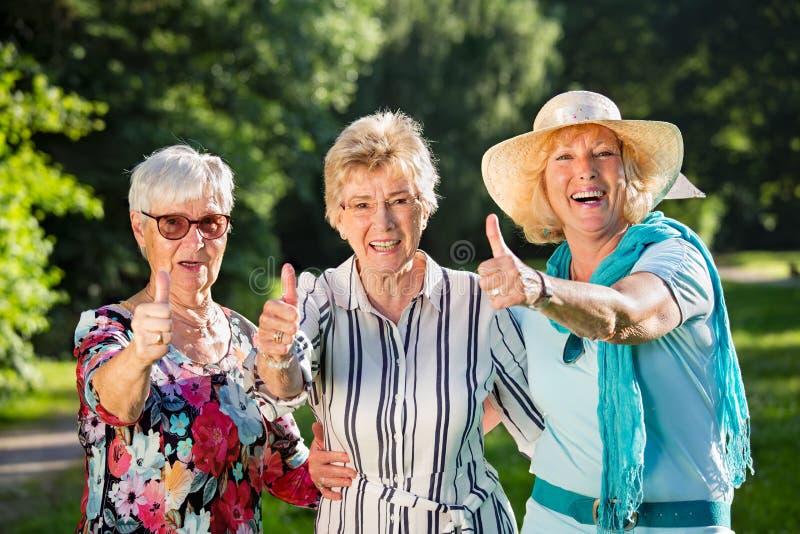 Three positive elderly women stock photography