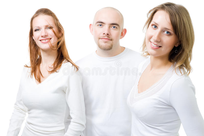 Three Positive People In White Royalty Free Stock Image