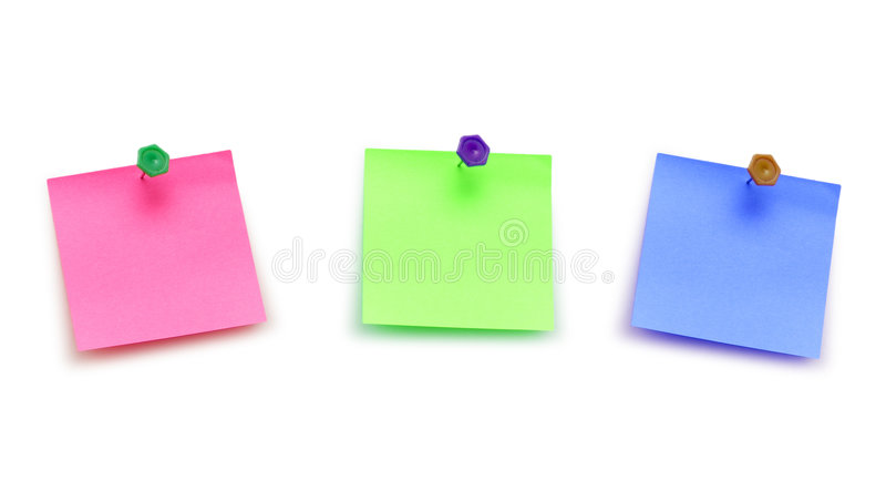Three post it notes isolated royalty free stock photo