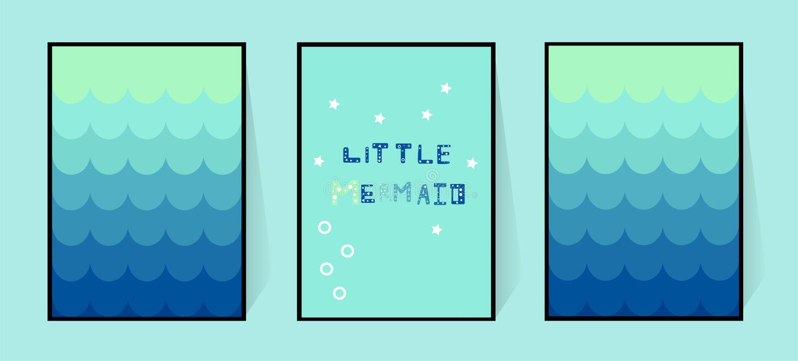 Three posters with a mermaid gradient blue tail. Wall decoration in the nursery or bathroom for girls. Funny inscription in stock illustration