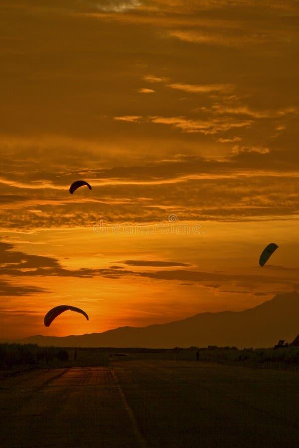 Download Three Power Kites stock image. Image of orange, going - 4387585