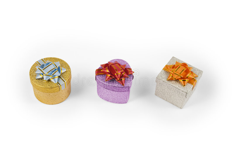 Three present boxes