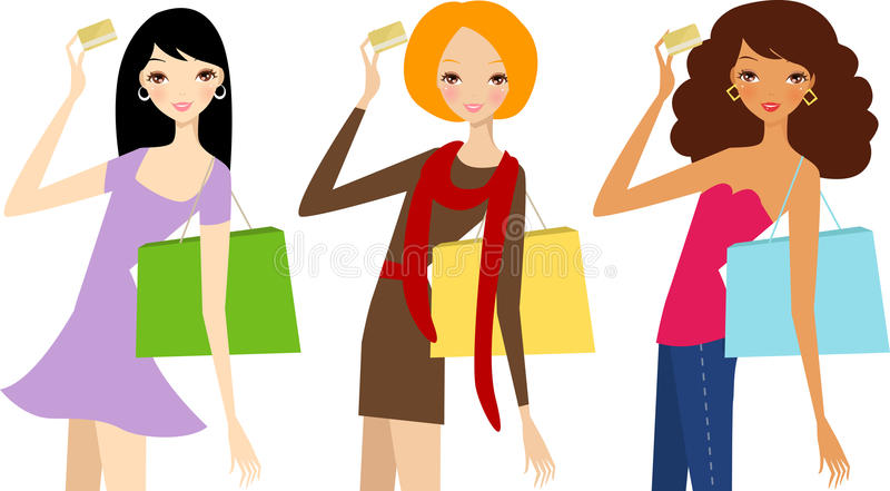 Download Three Pretty Girls With Card Stock Vector - Image: 31873588