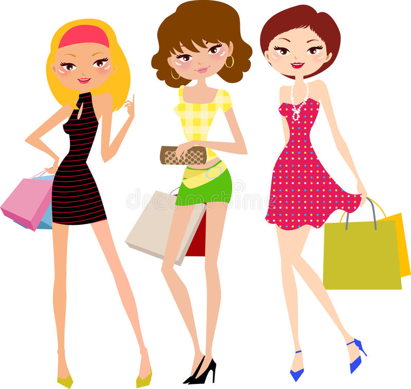 Three Pretty Girls With Shopping Bag Stock Vector
