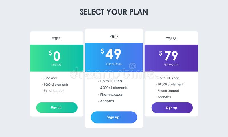 Three pricing plans royalty free illustration