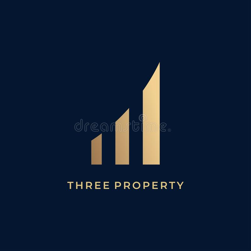 Three property logo icon design vector illustration. Estate, business, symbol, concept, abstract, real, building, construction, architecture, modern, graphic stock illustration