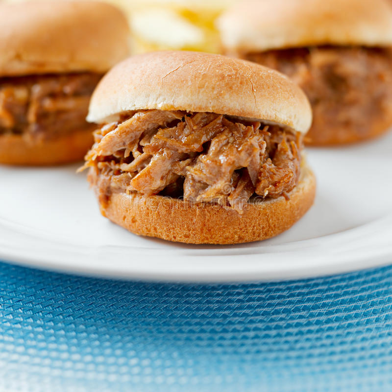 Download Three Pulled Work Bbq Sandwich Sliders Stock Photo - Image: 26452710