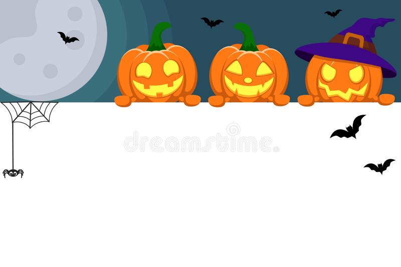 The three pumpkins look out from behind the white sheet on the background of the moon. Halloween banner. The three pumpkins look out from behind the white sheet vector illustration