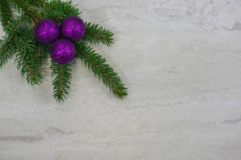 Three purple ornaments on a spruce bough stock image